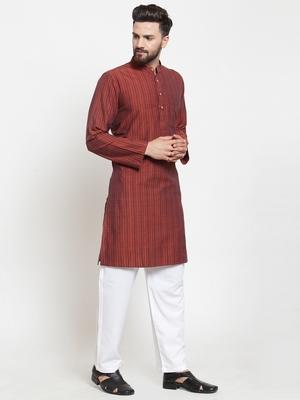 Brown Hand Woven Cotton Kurta Pajama