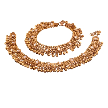 Traditional Gold Plated Kundan Anklet For Girls & Women (A021)