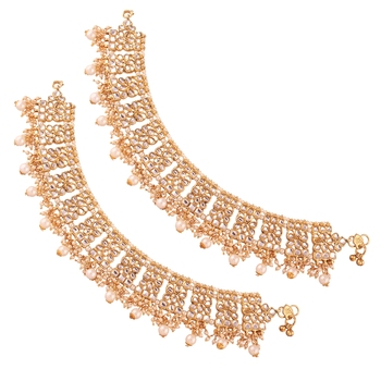 Gold Plated Bridal Kundan Anklets For Women A022W