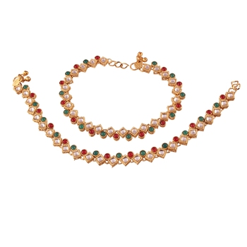 Gold Plated Traditional Kundan Anklets For Women A023MG
