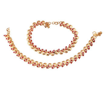 Gold Plated Traditional Kundan Anklets For Women A024R