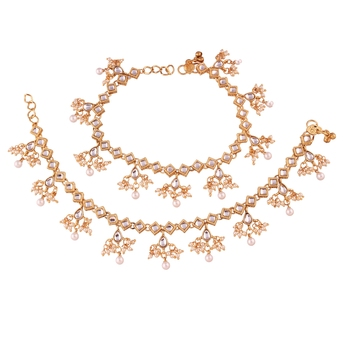 Gold Plated Traditional Kundan Anklets For Women A025W
