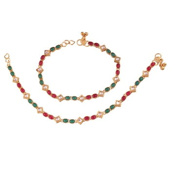 Gold Plated Traditional Kundan Anklets For Women A026MG
