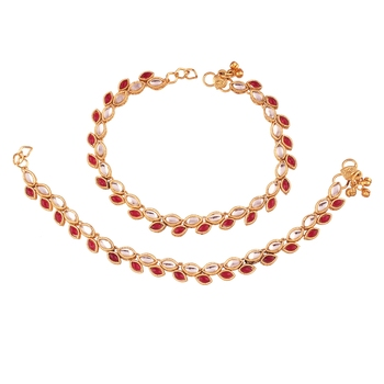 Gold Plated Traditional Kundan Anklets For Women A027M