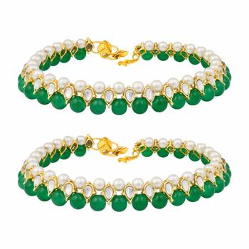 Traditional Gold Plated Kundan Pearl Anklets Payal For Girls & Women (A030G)