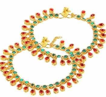 Traditional Gold Plated Kundan Anklets Payal For Girls & Women (A031MG)