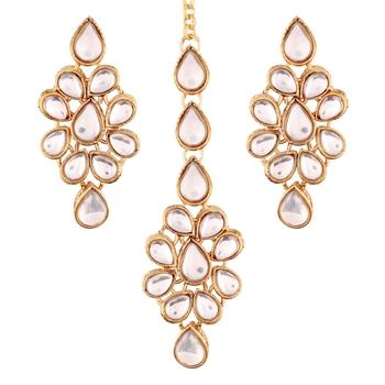 Gold Plated Kundan Earring Set with Maang Tikka for Women (TE2423W)