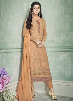 orange embroidered georgette semi stitched salwar with dupatta