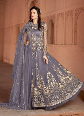 purple embroidered net semi stitched salwar with dupatta