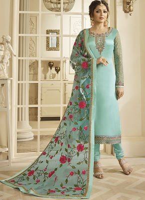 turquoise embroidered satin semi stitched salwar with dupatta