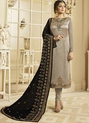 beige embroidered satin semi stitched salwar with dupatta
