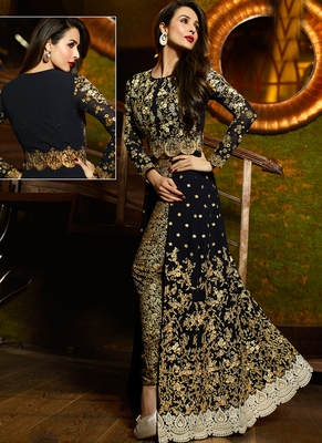 black embroidered georgette semi stitched salwar with dupatta