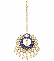 Gold Plated Kalank Inspired Kundan Pearl Meenakari Maang Tikka For Women (T2026Bl)