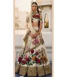 multicolor printed art silk unstitched lehenga choli