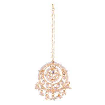 Traditional Gold Plated Kundan & Pearl Maang Tikka for Women (T1084W)