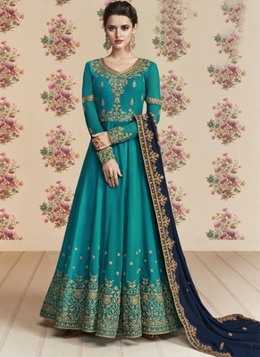 Blue Embroidered Silk Blend Semi Stitched Salwar With Dupatta