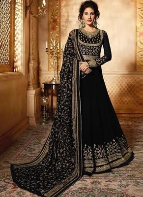 Black Embroidered Georgette Semi Stitched Anarkali With Dupatta