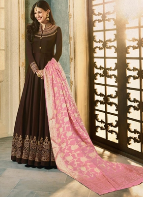 coffee embroidered satin semi stitched salwar with dupatta