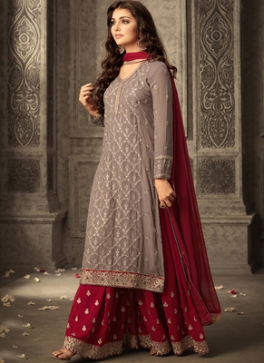 brown embroidered georgette semi stitched salwar with dupatta