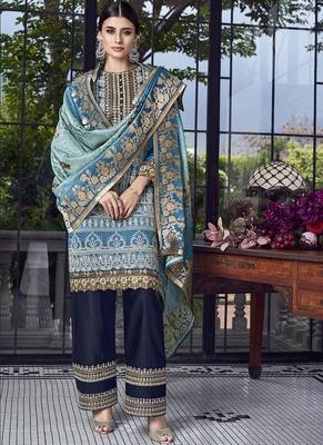 blue embroidered silk blend semi stitched salwar with dupatta