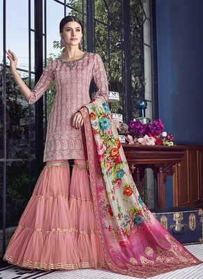 pink embroidered silk blend semi stitched salwar with dupatta