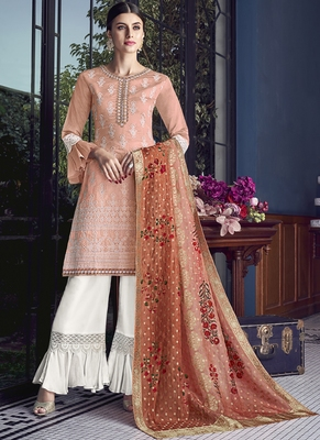 peach embroidered silk blend semi stitched salwar with dupatta