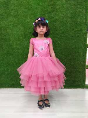 pink colour silk & net with hand work kids frock