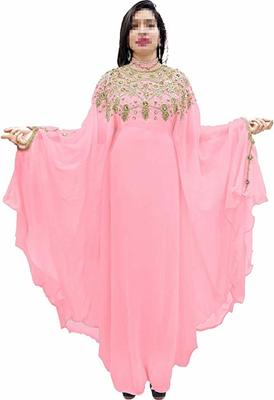 Baby Pink Beads and Stone Work Georgette Hand Stiched Arab Islamic farasha