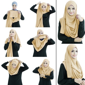 Justkartit Caramel Beige Color Fully Stitched Ready To Wear Instant Hijab Scarf For Women