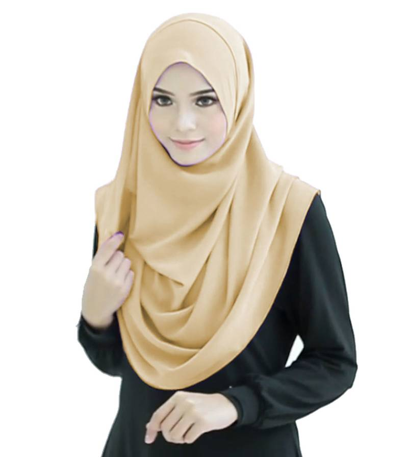 Beige Color Stitched Veil Hijab With Sleeves - Jsdc