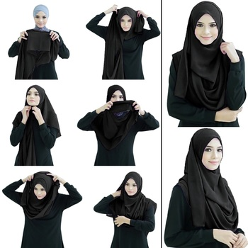 Justkartit Black Color Soft Stitched Instant Ready To Wear Hijab Scarf Stoles For Women
