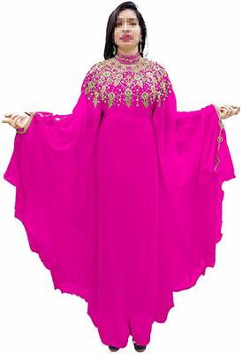 Dark rani_pink embroidered georgette islamic-kaftans