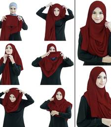 Justkartit Maroon Color Stitched Chiffon Lycra Ready To Wear Instant Hijab Scarf For Women