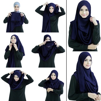 Justkartit Navy Blue Color Stitched 2 Loop Instant Hijab Scarf For Women