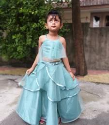 Sky Blue Double Layer Chaniya Choli For Kids
