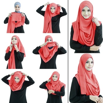 Justkartit Peach Color Fully Stitched Ready To Wear Instant Scarf Hijab For Women