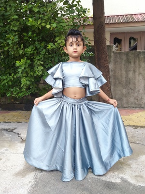 gray ambrella sleeve chaniya choli