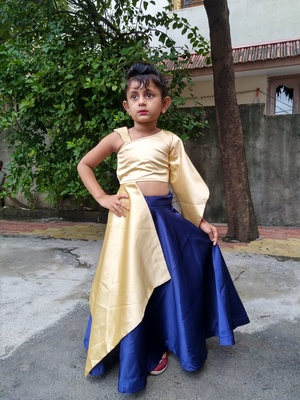 cream and blue colour croptop for girl