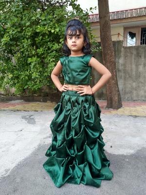 green box style lahenga choli