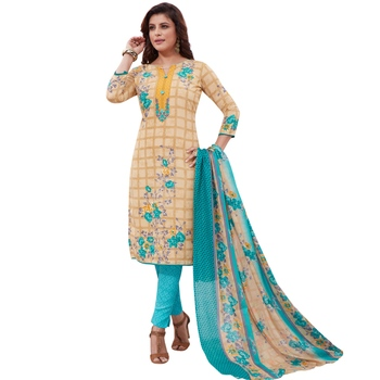Beige floral print synthetic salwar