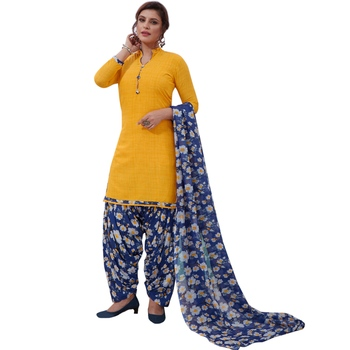 Yellow floral print synthetic salwar