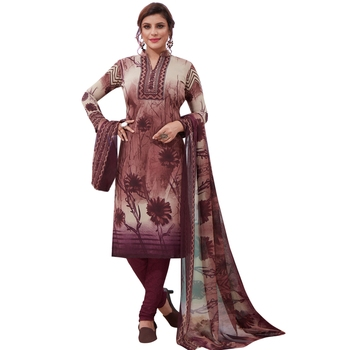 Multicolor floral print synthetic salwar