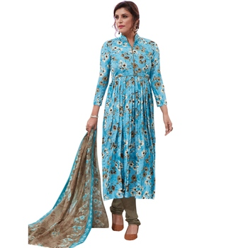 Blue floral print synthetic salwar