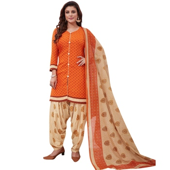 Orange floral print synthetic salwar