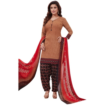 Brown floral print synthetic salwar
