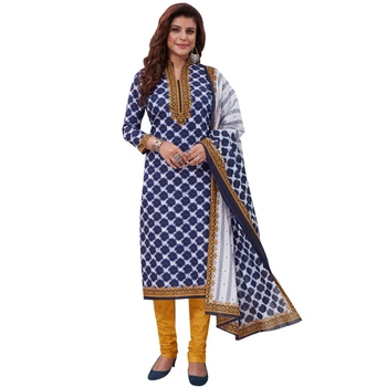 Blue floral print synthetic salwar
