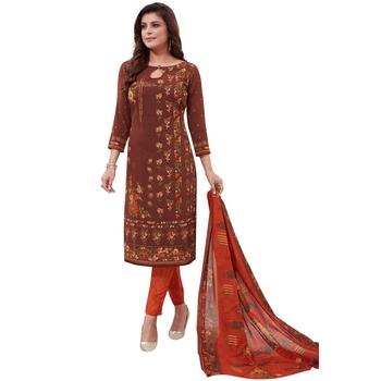 Brown floral print synthetic salwar