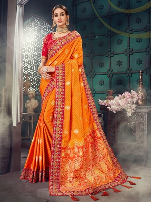 Orange embroidered bhagalpuri silk saree with blouse