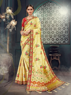 Yellow embroidered bhagalpuri silk saree with blouse