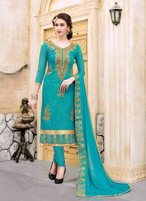 Turquoise resham embroidery cotton salwar